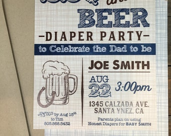 Diaper Shower Invitations - Digital Download, BBQ and BEER - BBQ Themed Invitations - Dad Shower - Baby Shower - Navy -  Printed Invites