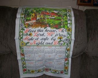 Vintage 1972 Calendar Tea Towel...Bless This House...Good Colors...Nice Condition..1970's Tea Towel..