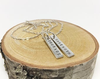 Rustic Double Bar Necklace // Sterling Silver Bar Necklace // Personalized