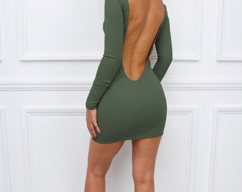"Womens Ladies New Khaki Green ""Sienna"" Low Back Backless Bodycon Party Long Sleeve Mini Dress"