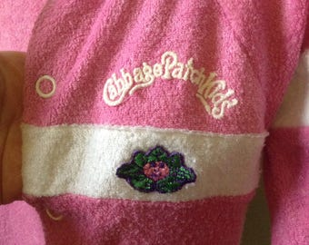 3-6M Baby Girl Pink White Cabbage Patch Brand Onesie Footed Vintage 80s Retro
