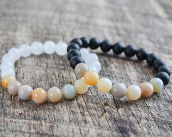 Bead Bracelet Set • Couples Bracelets • Distance Bracelets • Friendship Bracelets • Jasper • Stacking Bracelets • Jewelry Set • Gifts