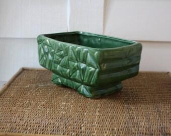Green planter, vintage green planter, mid century modern planter, moss green planter, green pot, planter
