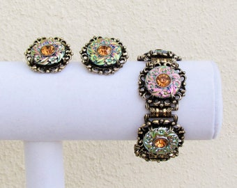 Vintage bracelet and earrings set with iridescent glass and amber rhinestones