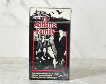 Vintage VHS Tape The Addams Family Original 1964 TV Series Episodes Black And White, Carloyn Jones, John Astin, Jackie Coogan, Ted Cassidy