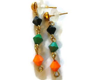 CLEARANCE Simple Gold Earring Studs with Green, Orange and Black beads/ Post Earrings/Everyday/Festival/Bohemian Five and Under. For Sale