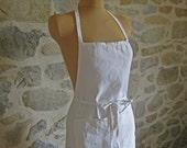 French linen apron - handmade vintage cooks pinny in white linen
