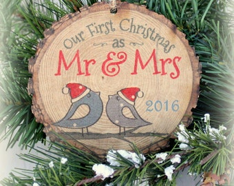 Our First Christmas as Mr & Mrs Ornament Personalized Rustic Decor