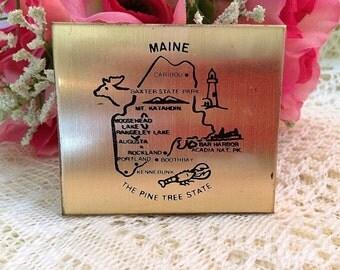 Vintage Maine Souvenir Petty Cash Compact
