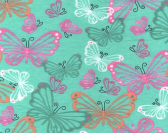 Snuggle Flannel Prints - Stenciled Butterflies - Sold by the Yard