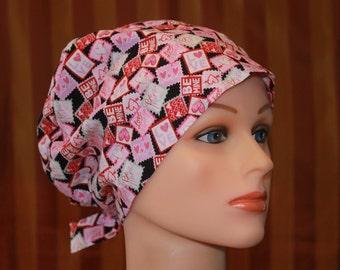 Scrub Hat, Tie Back Surgical Scrub Hat/Chemo Hat, Women's Scrub hat, Scrub Cap--Be Mine