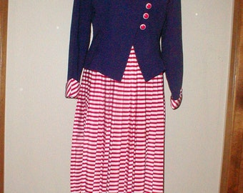 Sabino Red White And Blue Suit *Jacket & Skirt* Crisp Nautical Look!