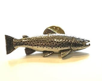 Trout Lapel Pin, Fishing Tie Tack, Deep Sea Lapel Pin, Trout Tie Tack, Trout Tie Pin, Trout Fishing, I'd Rather Be Fishing