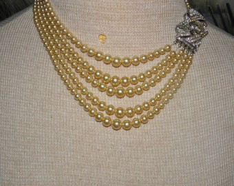 5 Strand Graduated Golden Lustrous Pearl Necklace w/ Large Rhinestone Clasp, 3 -8.8 mm, Multi Strand