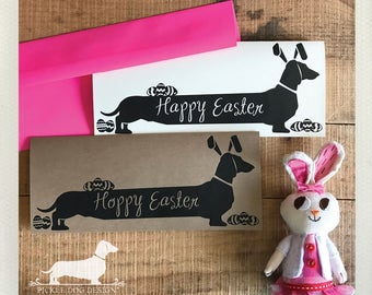 Long Doxie Bunny. Note Card -- (Easter Card, Easter Bunny, Dog, Cute, Dachshund, Vintage-Style, Weiner Dog, Rustic, Happy Easter, Spring)