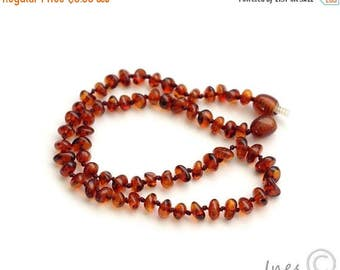 CHRISTMAS SALE Baltic Amber Baby Teething Necklace Cognac Color Beads