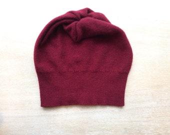 cashmere hat in wine, beanie, knit hat