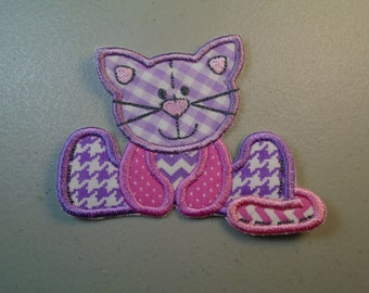 Stuffed Cat in pink and purple embroidered iron on or sew on applique  patch