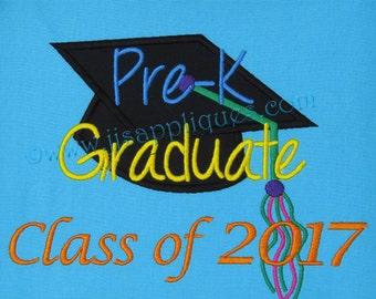 PreK Class of 2017 Graduation Cap - Pre K Graduation Embroidery Applique Design for hoop sizes 4x4, 5x7, 6x10  hoops - Instant Download