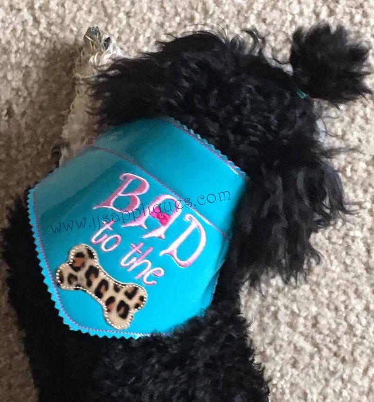Ith Doggie Bandana Embroidery Design Bad To The Bone