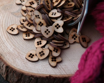 50 Wooden buttoms - Heart 16mm x 14mm raw lasercut wooden buttoms