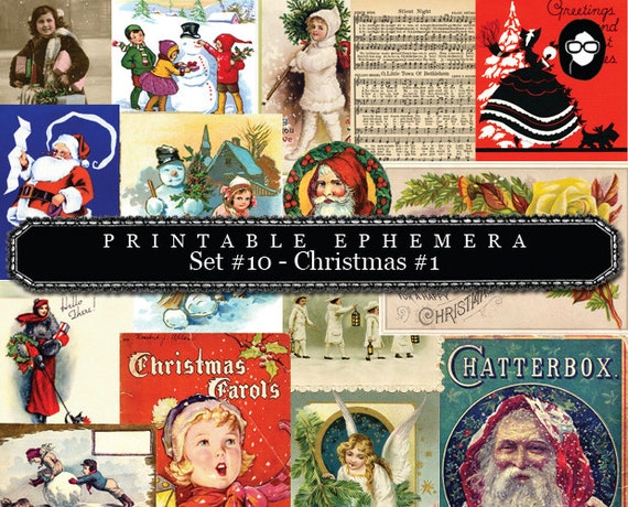 Clipart Christmas - Printable Ephemera Set # 10 Christmas #1- 30 Page Instant Download - clip art christmas, art journal card, ephemera pack
