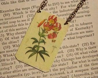 Floral necklace Fine Art botanical illustration Redoute'  media jewelry