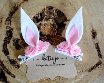 Rabbit Ear Pigtail clips/Easter Hair Clips/Bunny Ear Barrettes/Felt Bunny Ears