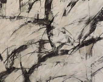 1-11-17  (abstract expressionist painting, black, pastel, white, ivory, cream, silver)