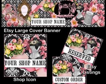VINTAGE SEAMSTRESS Complete Etsy Shop package,Victorian Etsy Large Cover Set,Etsy Complete Set,Shop Icon,Etsy Shop Package,Sewing Etsy Cover