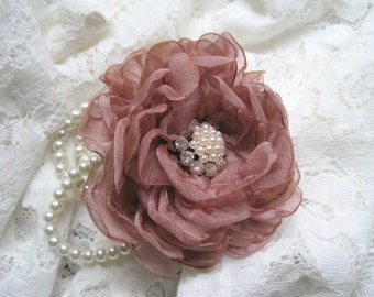 Flower Girl Tiny Wrist Pearl Wrist Corsage Designed in Your Color Choice with Pearl and Rhinestone Accent Wedding Accessories Communion