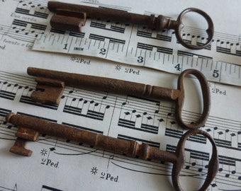 Skeleton Keys, Rusty old Keys,  X 3 LARGE,   Antique French, Circa 1880