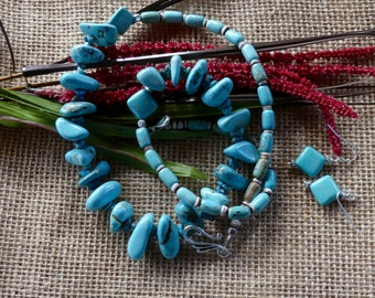 26 Inch Southwestern Blue Turquoise Nugget Necklace with Earrings