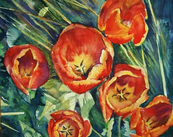 Tulip painting red  -original watercolor flowers