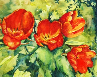 Tulip Painting - original watercolor red flowers