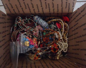 HUGE Lot of Mostly Broken Jewelry and Components for Repurpose, Jewelry Design, Altered Art Projects, Repair, 8 Lb 8 Oz