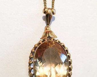 Art Deco Pendant, Citrine Pendant, 8K Gold, 1940s Vintage Jewelry, VALENTINE SALE