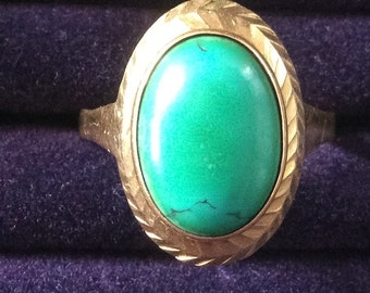 Turquoise Ring, Gold, Silver, Art Deco 1940s Vintage Jewelry SPRING SALE