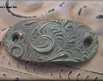 Handmade Solid Bronze  Rustic Bracelet Component - Verdigris Patina!