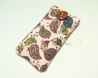 Flock Together Pink Bird Fabric Padded Phone Case Sleeve Pouch ANY Smartphone iPhone SE 5 6 6s 7 Plus Galaxy S6 S7 Edge HTC One M9 Xperia Z5