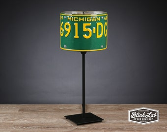 Michigan License Plate Table Lamp, Round, Man Cave, Garage, Repurposed, Upcycle, Automotive Lamp, Hand Crafted Light, Green & Yellow