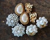 Vintage Clip On Earrings Set of Four Faux Pearl Rhinestone Beaded Cluster Japan Mid Century 1960's // Vintage Costume Jewelry