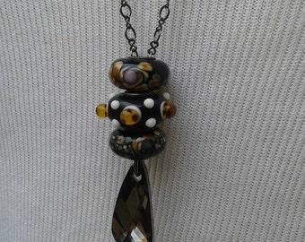 black crystal fantasy necklace Swarovski bead charms troll european