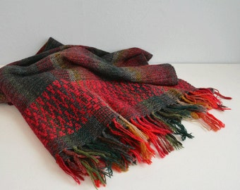 Vintage Wool Blanket  / Hand Woven Fringe Throw Red Ombre Stripe