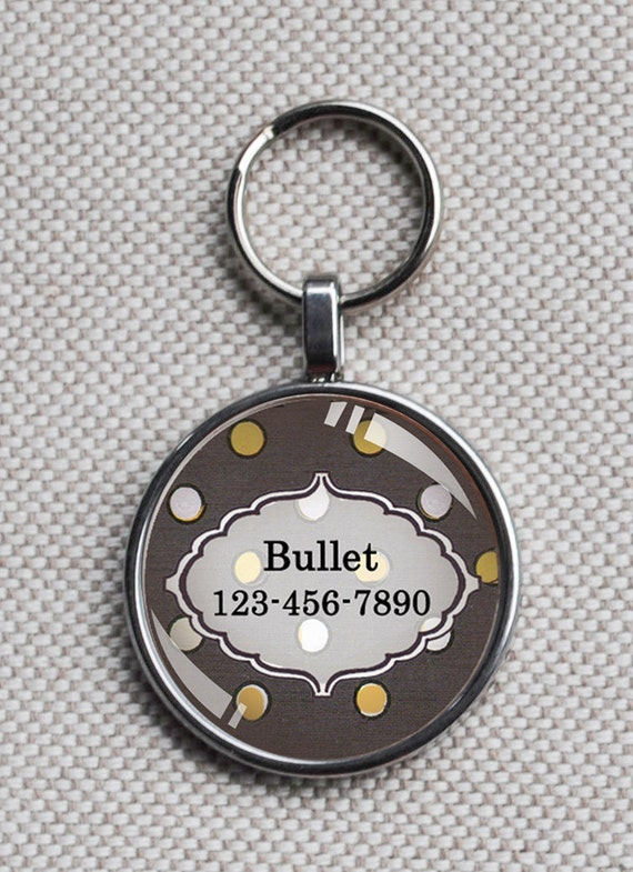 Pet iD tag mini round CAT ID small breed Dog Tag Dog tag Cat Tag by California Kitties grey and yellow polka dot round ID CT8345