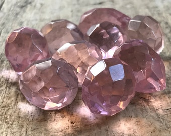 9pc 25x18mm Pink Faceted Tear Drop, Large Briolette, October, Glass Beads, Glass Teardrop, Destash Jewelry Making Supplies, Jewelry DIY