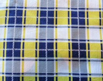vintage FULL feed sack fabric -- yellow, gray and navy plaid print