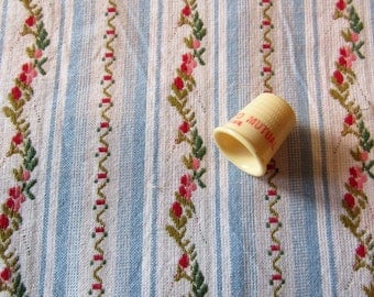 woven floral stripe vintage cotton fabric -- 56 wide by 29 inches
