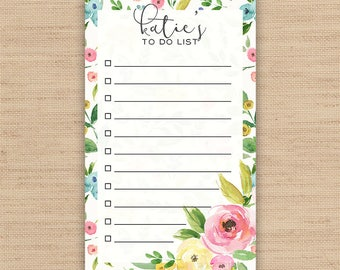 Personalized To Do List // Personalized Notepad // Custom To Do List //  Available in 3 sizes - 3.4 x 5.75 in \ 5.5 x 8.5 in \ 8.5 x 11