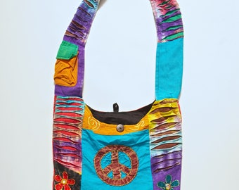 Peace Sign Tie Dye Hippy Flower Power Embroidered Cotton Boho Shoulder Bag Purse